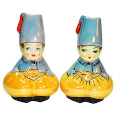 Noritake Art Deco Lustreware Fez Boy Salt & Pepper Shakers
