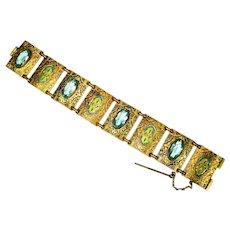 LG Czech Enamel & Blue Topaz Glass Bracelet