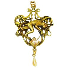 Victorian Jeweled Monkey Necklace George Steere