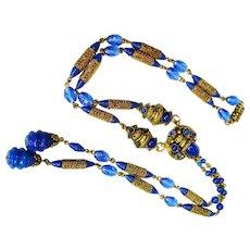 Pristine Neiger Czech Enamel Jeweled Flapper Necklace Signed