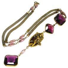 Big Purple Czech Glass Cherub Necklace