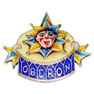 1906 Enamel Elves Of Oberon Mardi Gras Ball Favor Pin