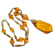 Czech Multi Faceted Amber Glass Filigree Necklace