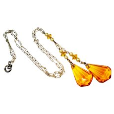 Czech Sterling Faux Pearl Topaz Glass Negligee Necklace