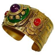 Patrice Egyptian Revival Jeweled Art Glass Cuff Bracelet