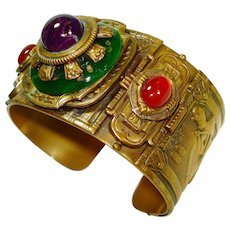 Patrice Egyptian Revival Jeweled Art Glass Cuff Bracelet