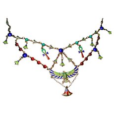 FINE Egyptian Revival Enamel Silver Swag Necklace