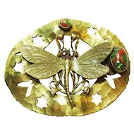 Art Nouveau Dragonfly Jeweled Sash Pin