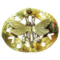 Art Nouveau Dragonfly Jeweled Sash Pin