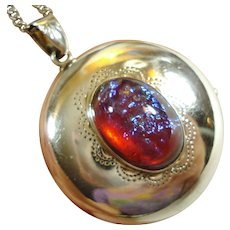 LG Old Pawn Locket Sterling Dragons Breath