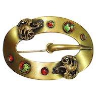 Huge Victorian Foiled Art Glass Dragons Sash Pin