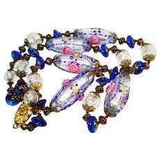 Foiled Wedding Cake Lattice Venetian Art Glass Bead Necklace