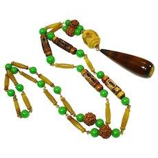 Art Deco Celluloid Jadite Glass Flapper Necklace