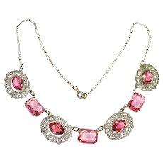 Art Deco Deep Rose Pink Filigree Czech Necklace