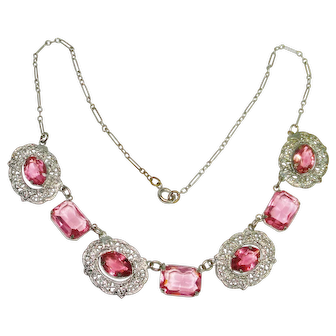 Art Deco Deep Rose Pink Filigree Czech Necklace