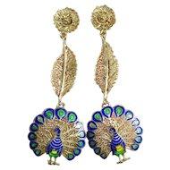 RARE Sterling Enamel Peacock Dangle Earrings