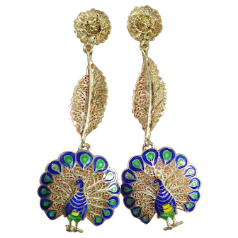 RARE Sterling Enamel Peacock Dangle Earrings