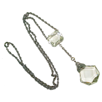 Art Deco Cut Crystal Lavalier Necklace