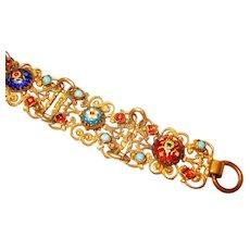 Fine Foiled Iridescent Bresse Enamel Jeweled Filigree Bracelet