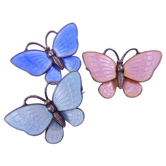 Trio Enamel VB Denmark Sterling Butterfly Pins