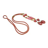 Neiger Czech Ornate Filigree Pink Art Glass Slide Necklace