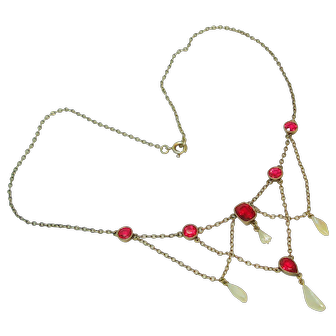 Victorian River Pearl Faux Ruby Swag Necklace