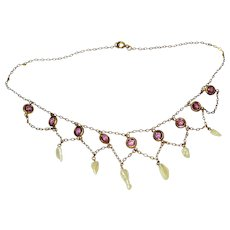 Victorian River Pearl Amethyst Glass GF Swag Necklace