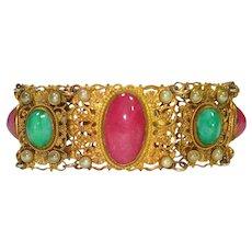 Czech Pink Art Glass Faux Pearl Filigree Bracelet