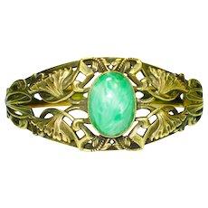 Art Nouveau Faux Jade Victorian Bracelet