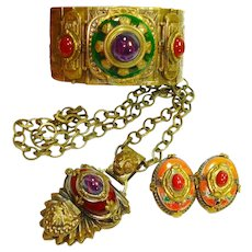 Dramatic Patrice Egyptian Revival Bracelet Necklace ERs