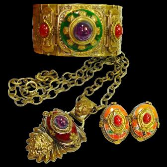 Dramatic Patrice Egyptian Revival Bracelet Necklace ERs