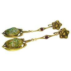 RARE Favril Art Glass Scarab Garnet Dangle Earrings