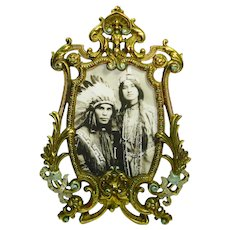 Ornate Bradley Hubbard Hand Painted Frame with mirror