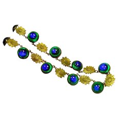 LG Old Czech Peacock Eye Foiled Art Glass Necklace