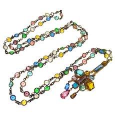 "32"" Bezel Set Crystal Station Necklace"