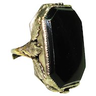 Huge Old Czech Black Glass Mourning Ring