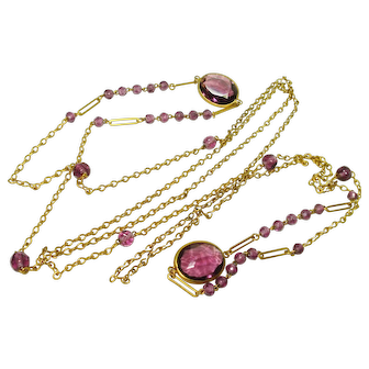 """60"""" Vintage Jeweled Paper Clip Chain Necklace"""