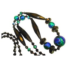 EX Long Peacock Foil French Jet Flapper Necklace
