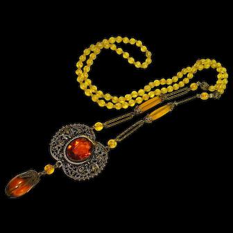 Czech Coiled Snake Topaz Glass Sautoir Necklace