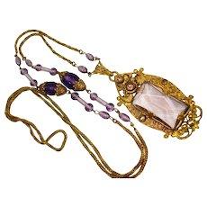 Elegant Neiger Amethyst Glass Marcasite Czech Necklace