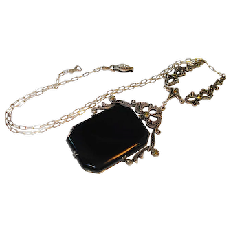 Fine German Sterling Silver & Marcasite Lavalier Necklace