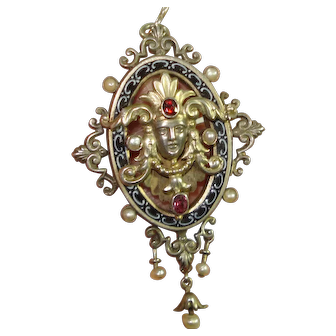 Austro Hungarian Jeweled Enamel Figural Goddess Pendant