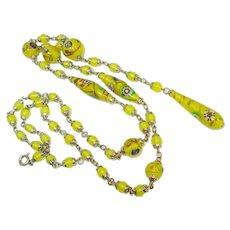 1920's Czech Adventurine Millefiore Art Glass Sautoir Necklace