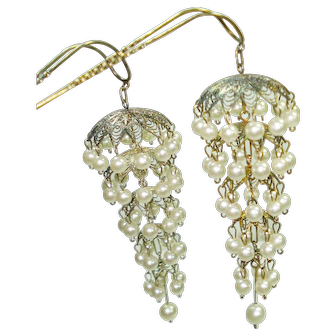 Vintage 800 Silver Faux Pearl Hair Ornaments