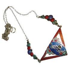 Art Deco Josephine Baker Sterling Enamel Necklace