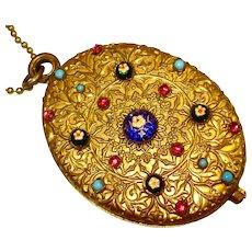Impressive Bresse Czech French Enamel Slide Locket Necklace w Mirror