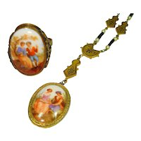 Old Czech Hand Painted & Enamel Ring Necklace Set