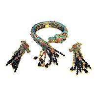 Striking Dragon Rhinestone Heidi Daus Bracelet Earring Set