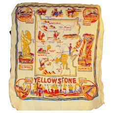 Vintage 40s 50s Yellowstone Park Montana Map Guide Tea Towel