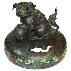 LG Chinese Cloisonne Enamel Figural Foo Dog Lid